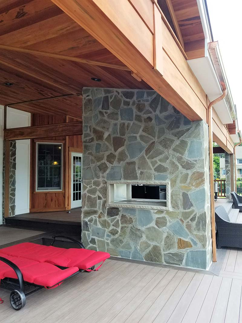 Outdoor Fireplace And Custom Deck. Fire Feature ...