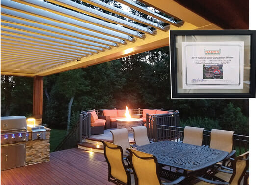 Equinox Pergola. Fire Feature, Outdoor Kitchen , Zuri Decking