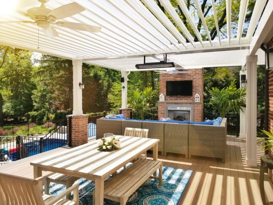 Deck showing opened louvered roof
